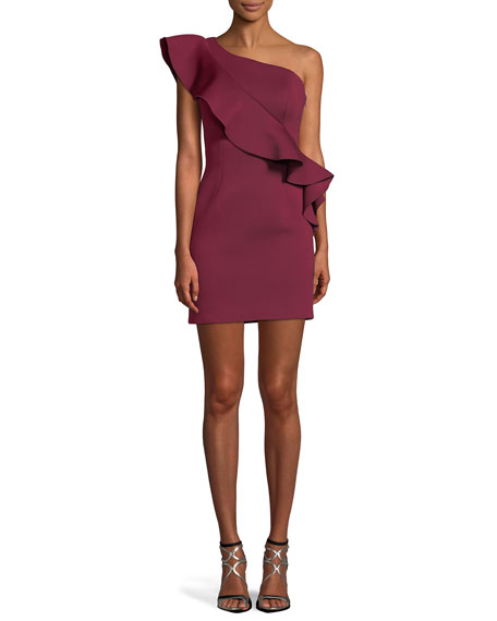 Jovani One-Shoulder Asymmetric Ruffle Mini Cocktail Dress