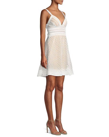 Crochet V-Neck Mini Cocktail Dress