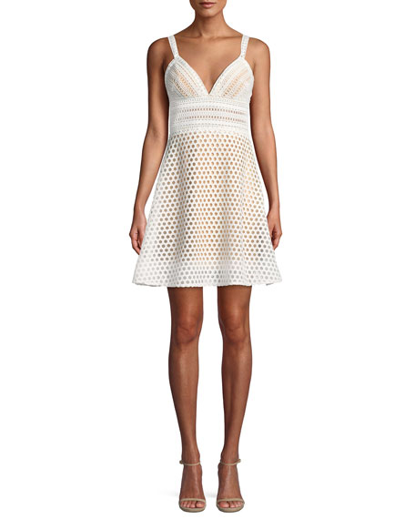 Jovani Crochet V-Neck Mini Cocktail Dress