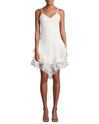 Louise Floral Mesh Asymmetric Mini Dress