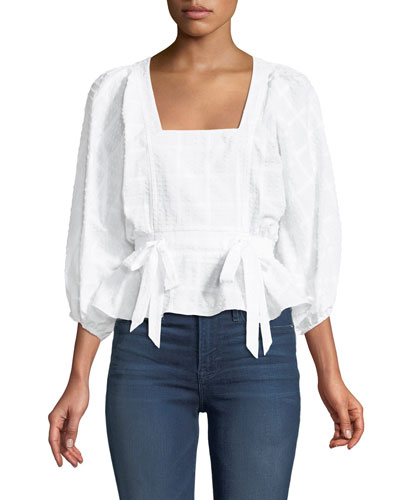Eliana Textured Cotton Peplum Top