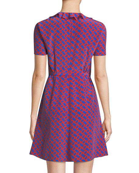 Savilla Printed Ruffle Wrap Dress