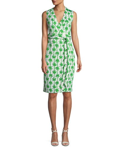 Yahzi Printed Sleeveless Wrap Dress