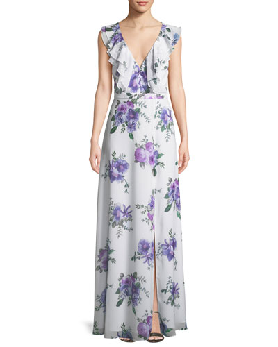 The Remi Long Floral Georgette Dress
