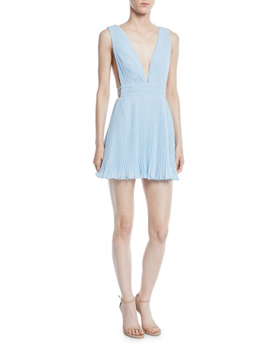 Briella Pleated Georgette Mini Dress