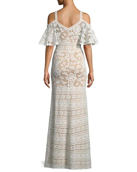 Lace Cold-Shoulder Flutter-Sleeve Gown
