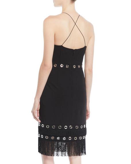 Crisscross Cocktail Dress w/ Grommets & Fringe