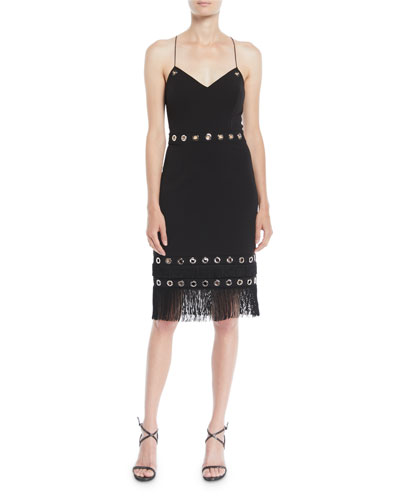 Crisscross Cocktail Dress w/ Grommets & Fringe