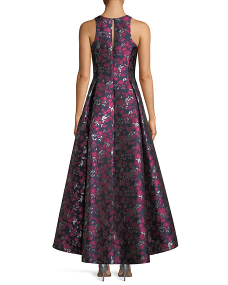 Printed Jacquard High-Low Sleeveless Gown