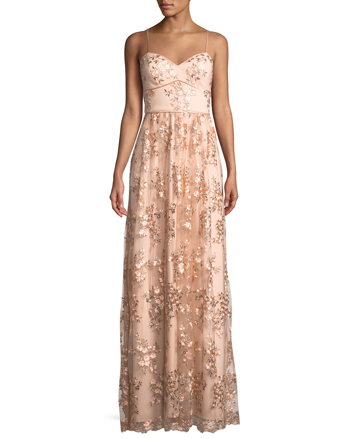 Aidan by Aidan Mattox Floral Embroidered Sweetheart Gown   Neiman Marcus