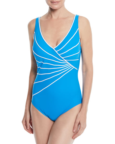GOTTEX Sinatra Piped Crossover V-Neck One Piece Swimsuit in Blue