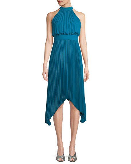 Aidan by Aidan Mattox Pleated Halter Cocktail Dress