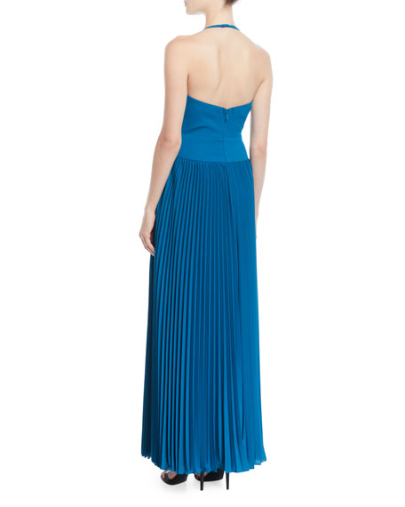 Pleated Crepe Halter Gown