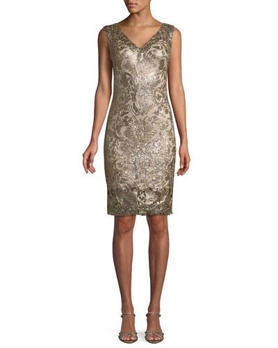 Sleeveless Corded Lace Dress