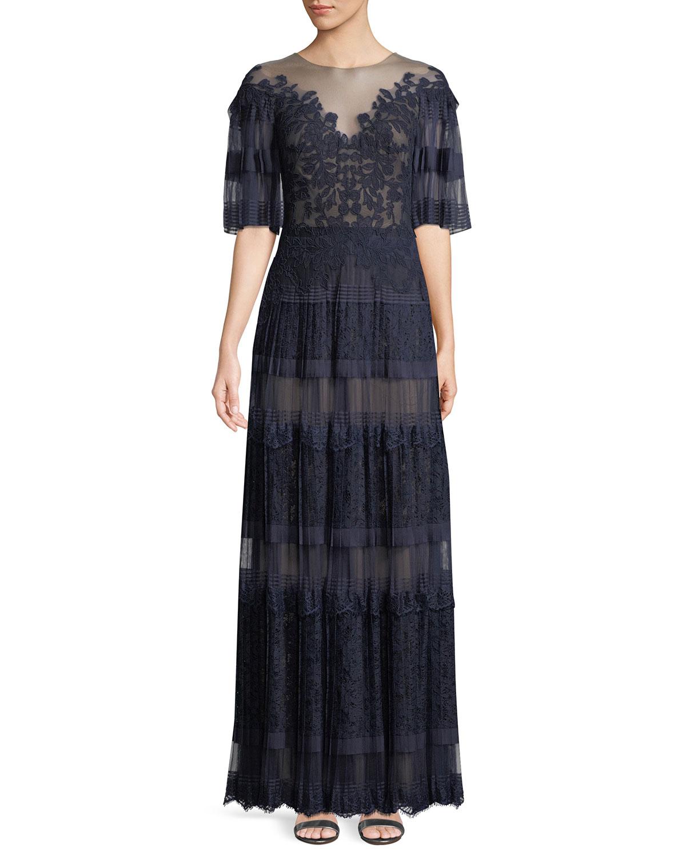 b243cc1d9aa Tadashi Shoji Nevaeh Pleated Tulle   Lace Gown
