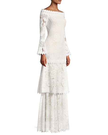 Off-the-Shoulder Tiered Lace Gown