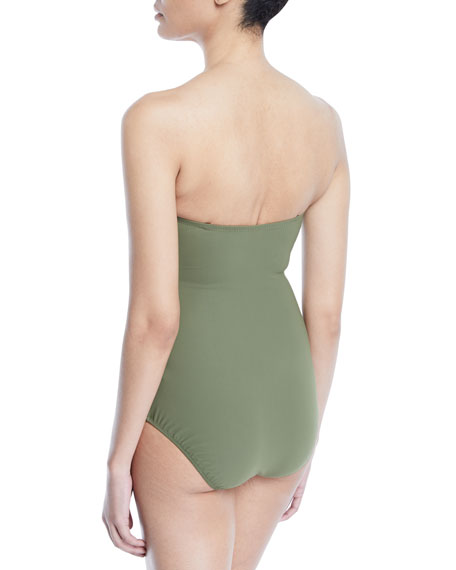 Moto Ruched Bandeau One-Piece Swimsuit