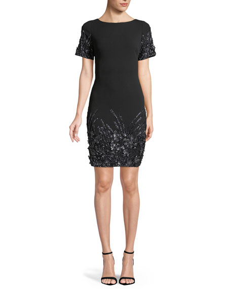 Aidan Mattox Beaded Shift Dress w/ Scoop Back