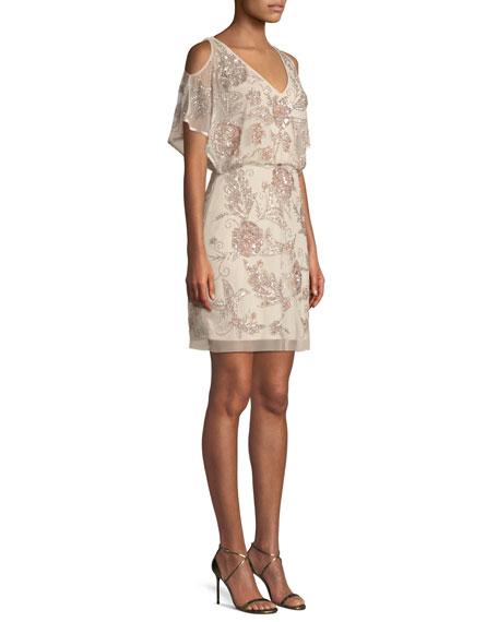 Slit-Sleeve Beaded Blouson Dress