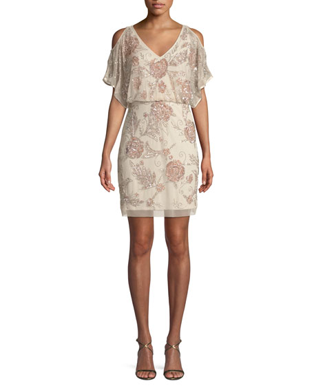 Aidan Mattox Slit-Sleeve Beaded Blouson Dress