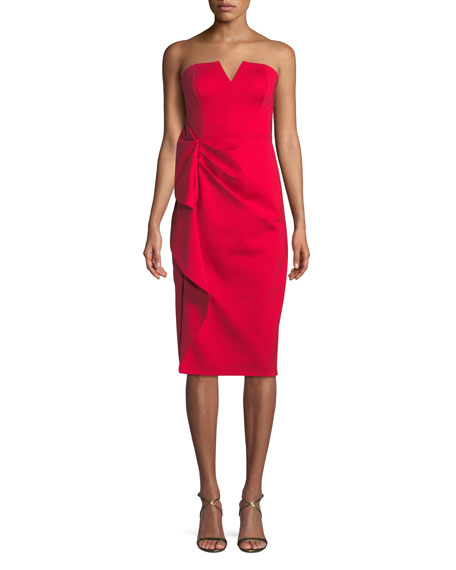 Aidan Mattox Strapless Midi Dress w/ Side Ruching