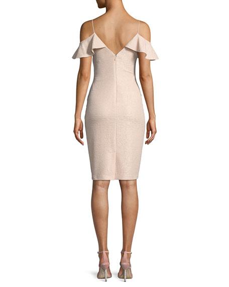 Ruffle Cold-Shoulder Knit Cocktail Dress