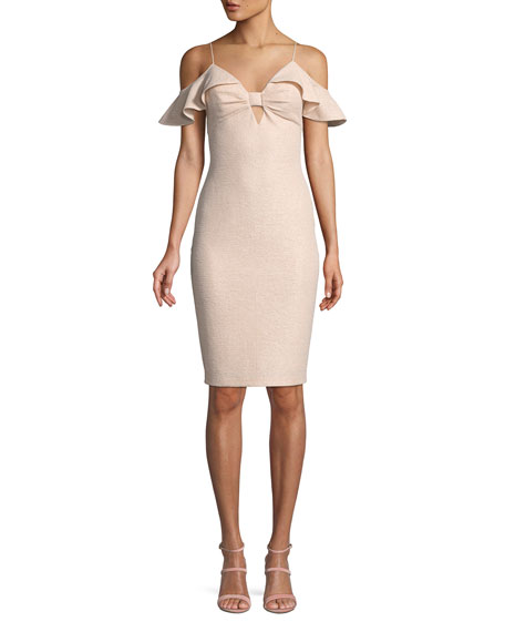 Aidan Mattox Ruffle Cold-Shoulder Knit Cocktail Dress