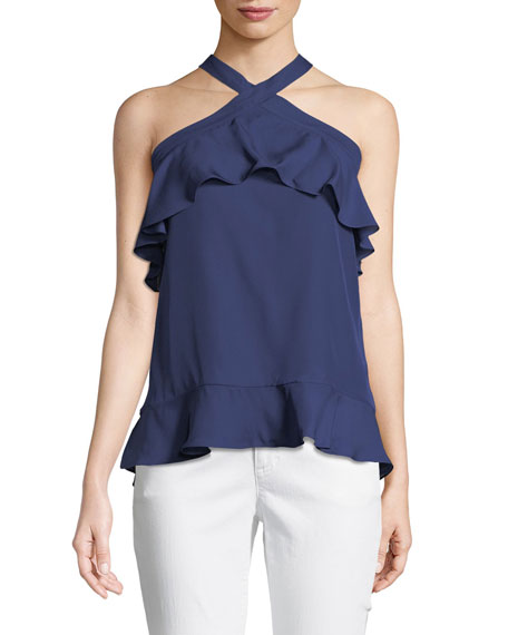 Nashley Silk Ruffle Halter Top