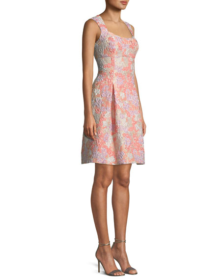 Floral Brocade Sleeveless Fit-and-Flare Dress