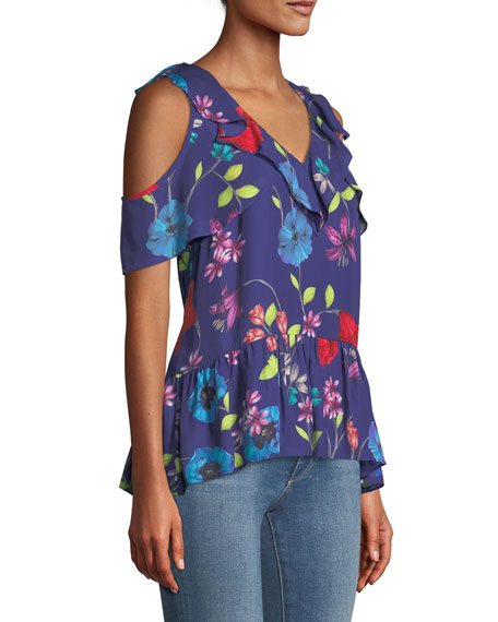 Dedra Floral Cold-Shoulder Top