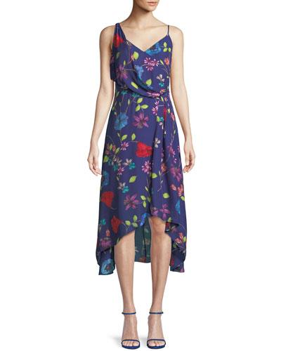 Pippy Draped Floral Silk Midi Dress