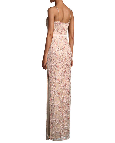 Floral Embroidered Gown w/ Beading