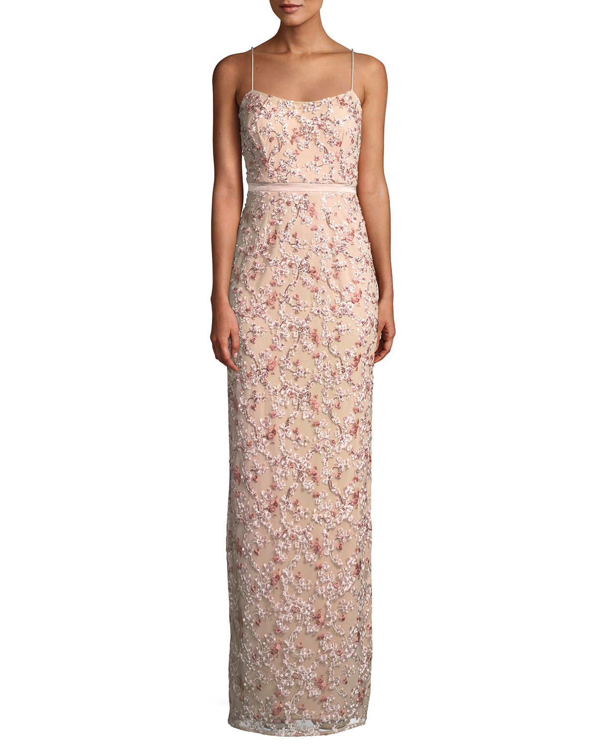 Aidan Mattox Floral Embroidered Gown w/ Beading | Neiman Marcus
