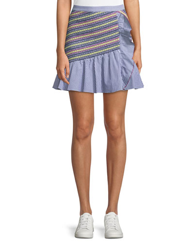 Jordon Flounce Shirting Mini Skirt