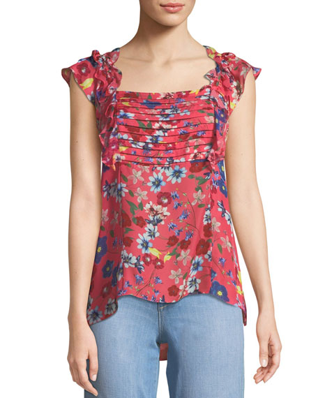 Parker Catalina Floral-Print Ruffle Top