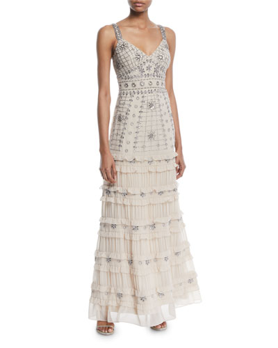 Sleeveless Tiered Beaded Gown