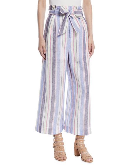 Robbie Belted Striped Linen Pants, Multi