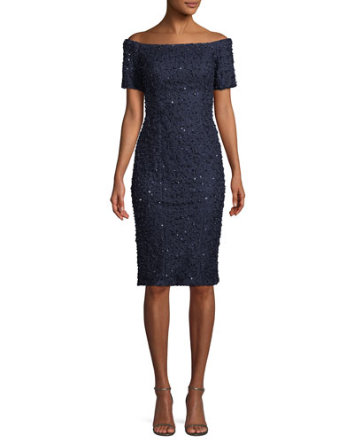Sequin Beaded Off-the-Shoulder Lace Cocktail Dress