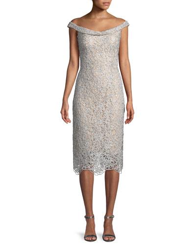 Metallic Ribbon Lace Off-the-Shoulder Dress