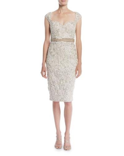 Embellished Lace Cocktail Dress w/ Beaded Waist
