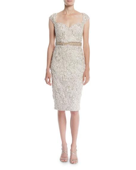 816675e3bfb Shoptagr | Embellished Lace Cocktail Dress W/ Beaded Waist by Jovani