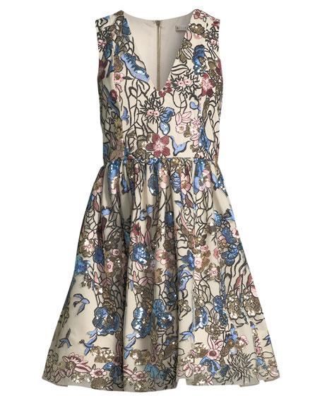 Becca V-Neck Midi Pouf Cocktail Dress