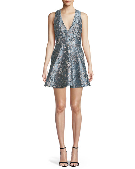Alice + Olivia Tennie Embroidered Fit-And-Flare Dress, Blue Pattern