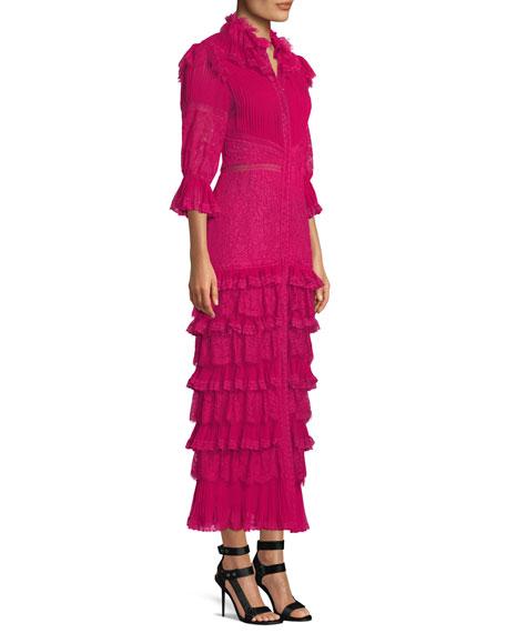 Carmina Pleated Lace Ruffle Midi Dress