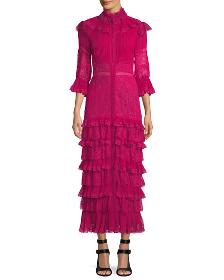 Alice + Olivia Carmina Pleated Lace Ruffle Midi
