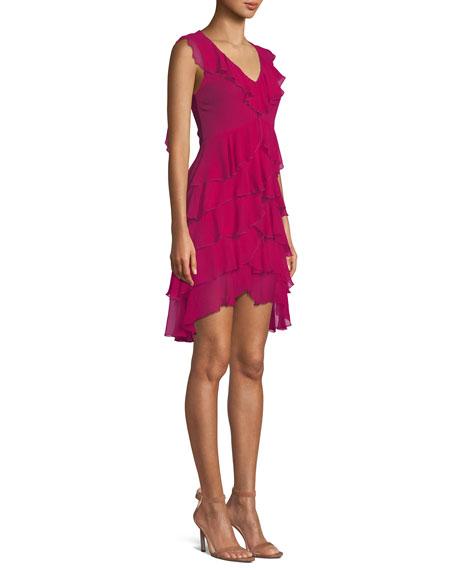 Felicita V-Neck Sleeveless Tiered Ruffled Silk Dress