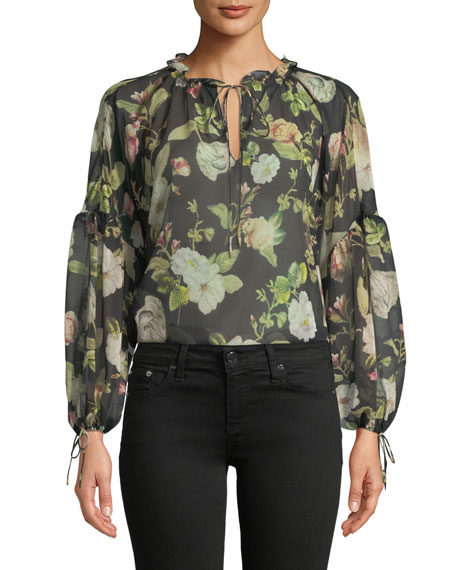 Alice + Olivia Julius Floral Silk Blouson-Sleeve Tunic