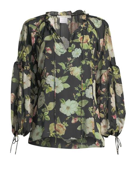 Julius Floral Silk Blouson-Sleeve Tunic Top