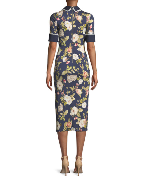 Delora Collared Floral-Print Sheath Dress