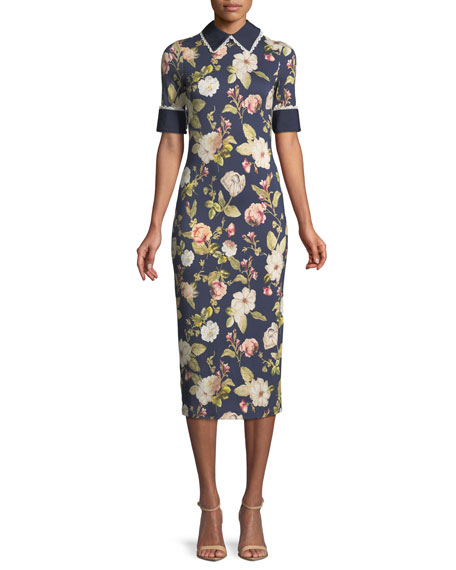 ALICE + OLIVIA DELORA COLLARED FLORAL PRINT MIDI DRESS